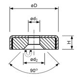Pot magnet flat with bore and 90° counterbore in stainless steel body, Fe