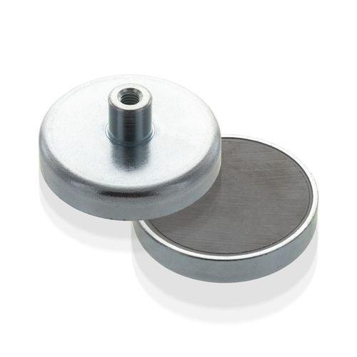 Pot magnet flat with screwed bush, Fe, economy