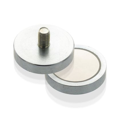 Pot magnet flat with threaded neck, NdFeB, economy