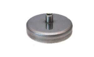 Pot magnet flat with screwed bush in stainless steel body, Fe